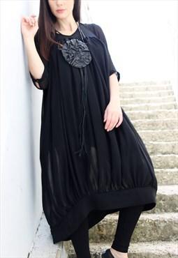 Black Shirt /Chiffon Asymmetrical Top/ Loose Tunic/ D0022