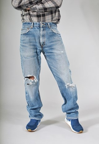 VINTAGE LEVI'S 505 MID BLUE DISTRESSED STRAIGHT JEANS
