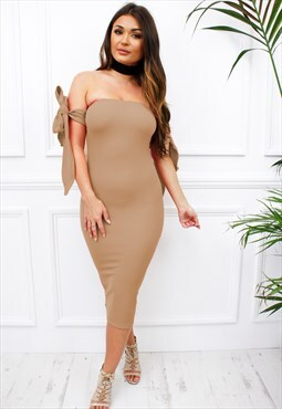 Camel Strapless Bardot Bow Tie Sleeve Midi Bodycon Dress