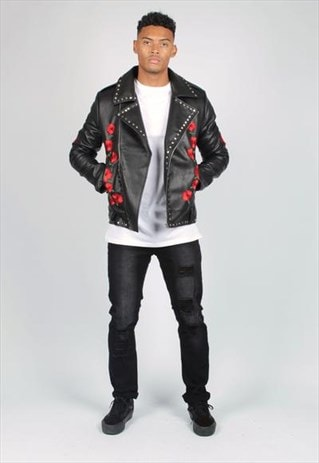 TEXAS ROSES ARE RED EMBROIDERED & STUDDED PU JACKET