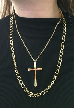 1990s Gold Plated Chains with Large Cross Pendant Set