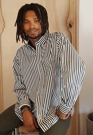 90S MINIMALIST CLASSIC LUXURY VERTICAL STRIPE SHIRT XL