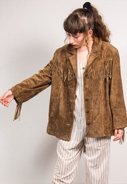 Vintage 90's Brown Suede Tassle Oversized Jacket