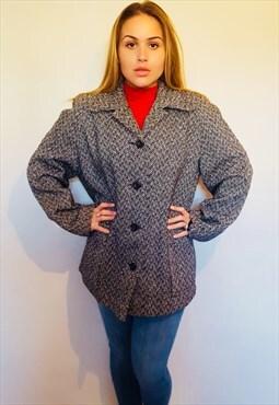 80s dogtooth box fit jacket/coat