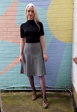Vintage dress with black knitted top & houndstooth skirt