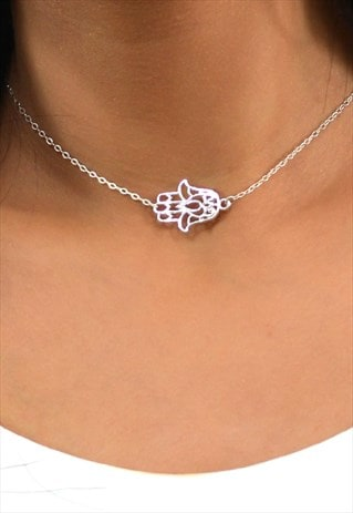 JENNA STERLING SILVER HAMSA CENTER CHARM CHOKER NECKLACE