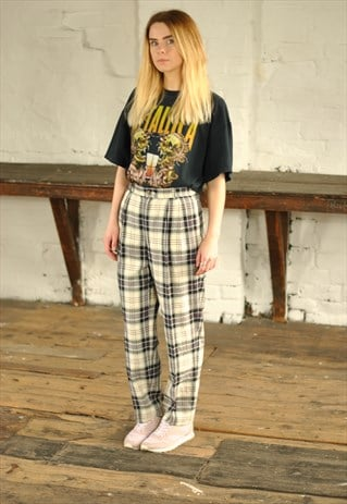VINTAGE HIGH WAISTED CHECKED TROUSERS