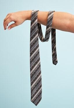 Vintage 80's retro striped woven tie