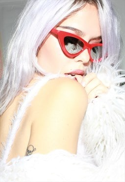 Cherry Red Mirror Lens Cat Eye Sunglasses