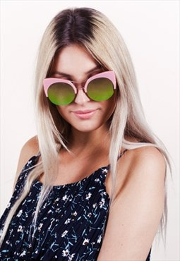Oversized Cat Eye Sunglasses With Reflective Lens