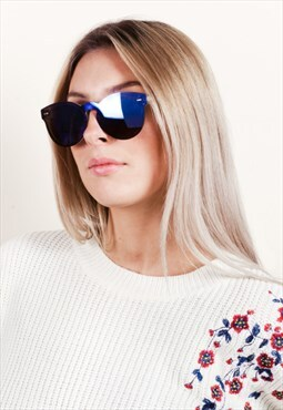 Blue Tinted Mirror Lens Sunglasses