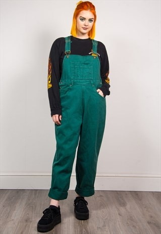 VINTAGE 90'S GREEN DENIM LONG LENGTH DUNGAREES
