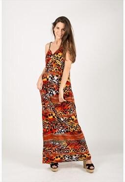 Multi color Leopard print maxi dress (Red)