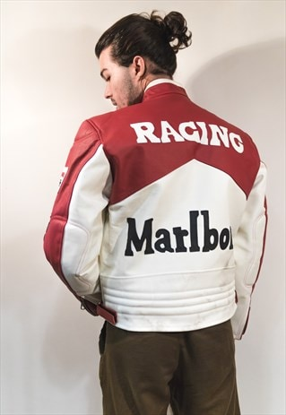 VINTAGE LEATHER BIKER JACKET BY MARLBORO RACING COD. 12-56