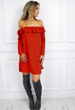 Red Bardot Long Sleeve Ruffle Boho Mini Dress