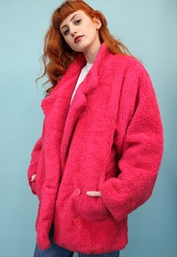 Vintage Pink Faux Fur Coat
