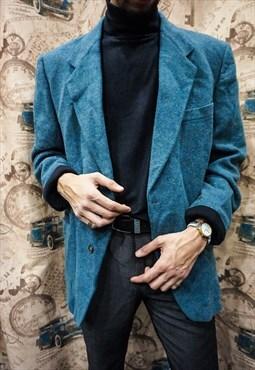 1980s Vintage Turquoise Wool Jacket