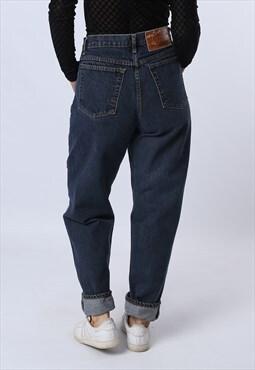 High Waisted Denim Jeans Tapered Leg Vintage UK 10-12 (L8GW)