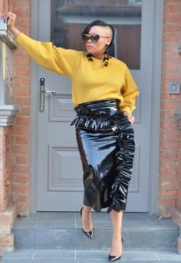 Shiny PU Midi Skirt With Extreme Ruffle