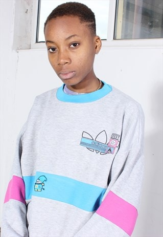 VINTAGE ADIDAS GREY, BLUE AND PINK SWEATSHIRT
