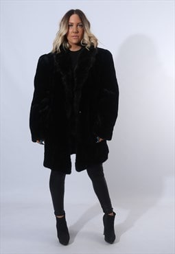 Faux Fur Coat Jacket Knee Length Vintage Long UK 16 (XJ2C)