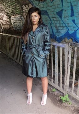 Shiny Dark Green Two Tone Coat