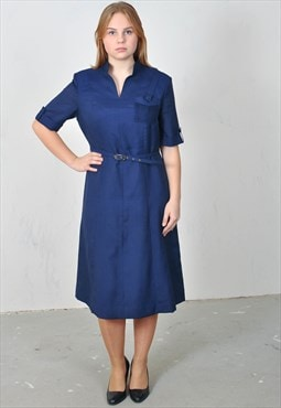 Vintage 80's midi dress in blue