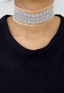 Medium Velvet- Beige & Detailed Metallic Lace Choker- Silver