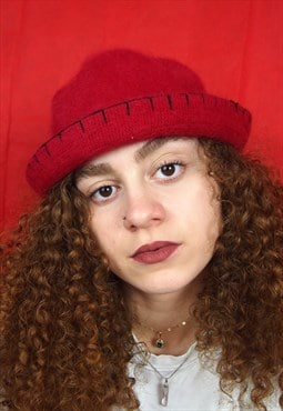 Red Fluffy Y2k Bucket hat