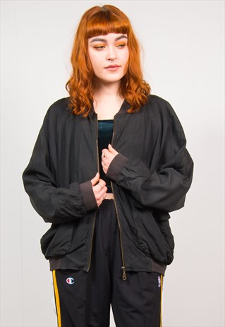 VINTAGE 90'S BLACK OVERSIZED BOMBER JACKET