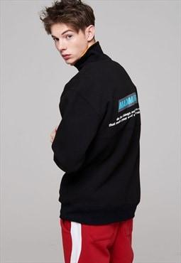 Colorated turtleneck sweatshirts-black