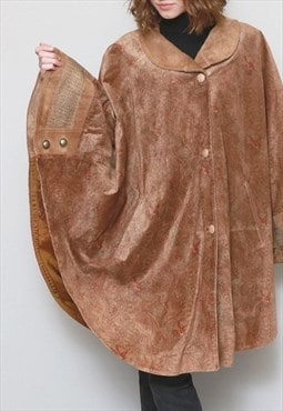 Vintage 1970's Premium Brown & Red Paisley Suede Cape