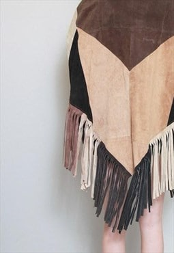 Vintage 1970's Recycled Patchwork Suede Fringed Cape