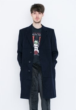 VINTAGE Dark Blue Long Retro Coat