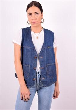 Womens Vintage Denim Waistcoat XXL Blue 90's