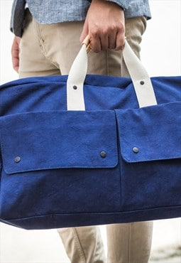 Weekender Italy canvas & leather - Blue