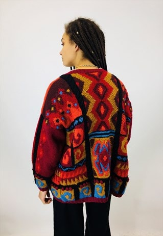 GORGEOUS COLOURFUL CHUNKY KNITTED CARDIGAN