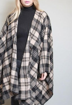 Vintage 1980's Soft Brown And Black Plaid Wool Cape