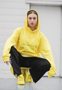 Yellow 'come on baby light my fire' hoodie
