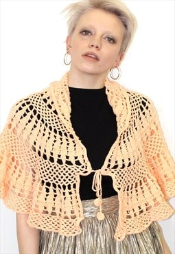 70s Vintage knitted cape/shawl peach boho festival crochet
