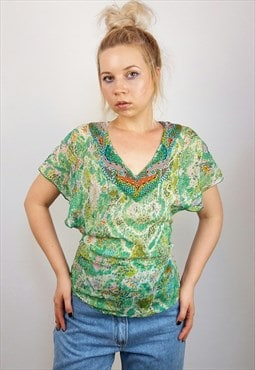 Vintage 90's ANTIK BATIK Beaded Festival Silk Top