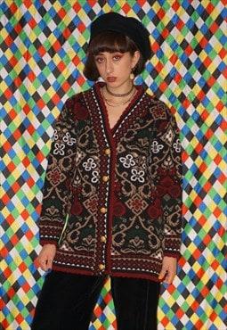 Vintage 90's Floral Brocade Cardigan