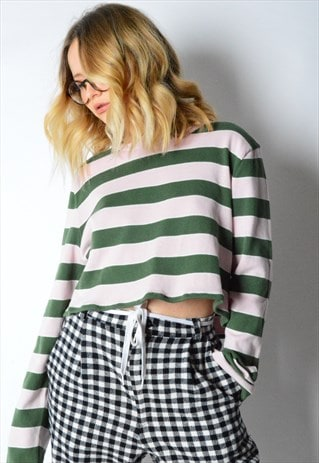 REWORKED VINTAGE STRIPPED TOMMY HILFIGER CROPPED TOP