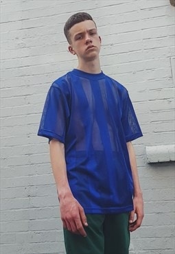 New Mesh Stripe T-shirt Royal Blue