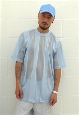 New Mesh Stripe T-shirt Light Blue