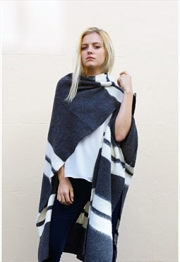 Grey and White Stripe Knit Oversize Cape (Grey)