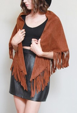 Vintage 1970's Cropped Brown Suede Fringed Festival Cape