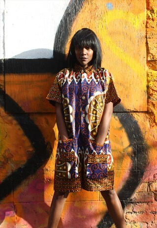 AFRICAN PRINT PLAY SUIT - WAX JUMPSUIT - SHORT SUIT