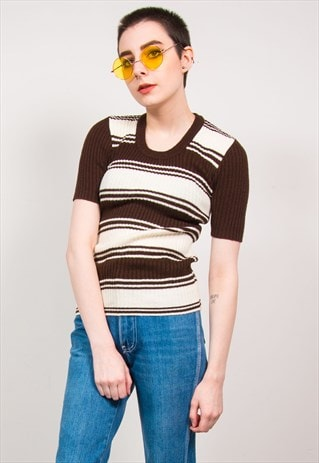 VINTAGE 70'S BROWN STRIPED KNIT RIBBED TOP T-SHIRT