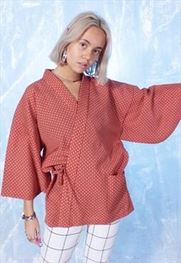 Vintage Orange and Yellow Short Kimono